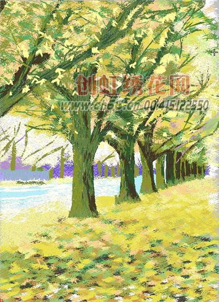 秋天落叶,风景,乱针工艺