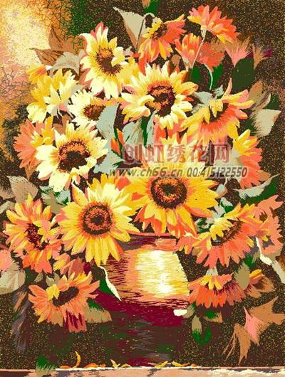 向日葵,电脑乱针绣,仿苏绣,风景工艺挂画,绣花花样-向日葵,图片